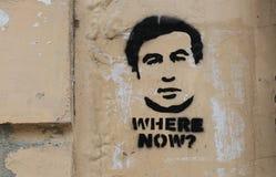 Imagen de Mikheil Saakashvili, el presidente de la pintada de Georgia Foto de archivo