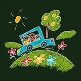 Imagen de niños felices Niños que dibujan estilo Foto de archivo libre de regalías