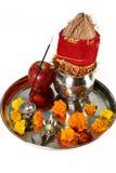 Imagen de Pooja Thali maravillosamente adornada para que celebración del festival adore foto de archivo libre de regalías