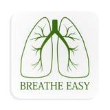 Imagen de pulmones verdes en el botón blanco Imágenes de archivo libres de regalías