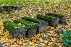 Imagen de sepulcros viejos en la yarda de la iglesia de la iglesia de la decapitación de San Juan Bautista en Dyakovo, Kolomensko Foto de archivo