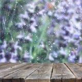 Imagen de tableros de madera rústicos delanteros y fondo del campo de flores hermoso el bokeh enciende la capa aliste para el con Foto de archivo