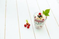 Imagen de tarros con el yogur natural y diversas bayas frescas Fotos de archivo libres de regalías