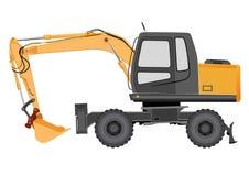 Imagen de un excavador amarillo en un chasis rodado Imagen de archivo