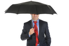 Imagen de un hombre de negocios con el paraguas Imágenes de archivo libres de regalías