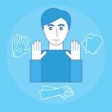 Imagen de un hombre y de un guante para proteger sus manos Equipo protector personal para las manos ilustración del vector
