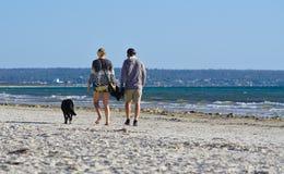 Imagen de un par con su perro que camina en la playa imagen de archivo libre de regalías