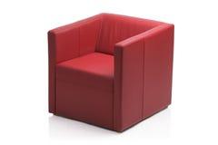 Imagen de una butaca de cuero roja moderna Foto de archivo