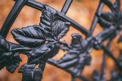 Imagen de una cerca decorativa del arrabio y de hojas anaranjadas del otoño como fondo Fotos de archivo libres de regalías
