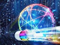 Imagen de una fibra óptica con efectos luminosos representación 3d libre illustration