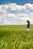 Imagen de una muchacha en un campo de trigo foto de archivo