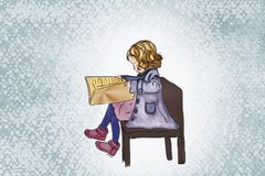 Imagen de una muchacha de sueño bonita con el libro Fotografía de archivo