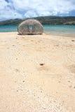 Trampa de bambú en la playa, isla de los pescados de Rodrigues Imagenes de archivo