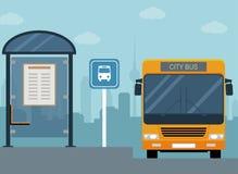 Imagen del autobús en la parada de autobús libre illustration