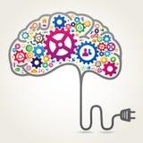 Imagen del cerebro con los engranajes y los iconos del web Fotos de archivo libres de regalías