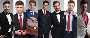 Imagen del collage de siete hombres elegantes que llevan los trajes imagen de archivo
