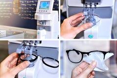 Imagen del collage del proceso de fabricación de los vidrios Fotos de archivo