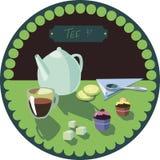 Imagen del color con té y tortas Foto de archivo libre de regalías