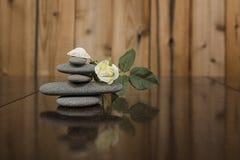 Imagen del color de una pila de rocas de Granit y de una concha marina vieja imagenes de archivo