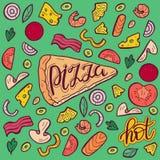 Imagen del color del vector de la pizza Rebanadas con los diversos ingredientes stock de ilustración