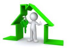 Imagen del concepto de un carácter que lleva a cabo una llave de la casa dentro del modelo miniatura de la casa Imágenes de archivo libres de regalías