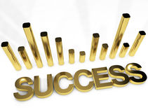 Imagen del concepto del gráfico del oro del éxito Foto de archivo