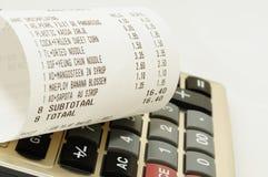 Imagen del concepto del presupuesto con el recibo Imagen de archivo