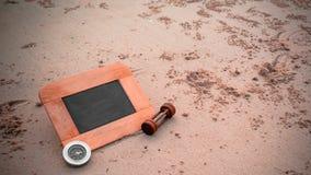 imagen del concepto del viaje de la pizarra y de los sandglass para i creativo Fotos de archivo