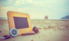 imagen del concepto del viaje de los artículos de la pizarra y de los efectos de escritorio para el cre Fotografía de archivo