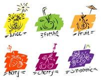 Imagen del contorno de frutas y de bayas en fondos coloreados, estilizada a mano, para el menú de barras y de cafés stock de ilustración