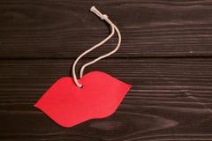 Imagen del día de tarjetas del día de San Valentín Labios rojos Fotografía de archivo