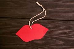 Imagen del día de tarjetas del día de San Valentín Labios rojos Imagen de archivo