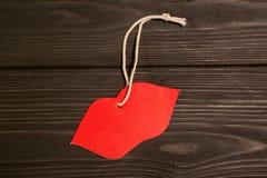 Imagen del día de tarjetas del día de San Valentín Labios rojos Fotos de archivo libres de regalías