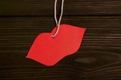 Imagen del día de tarjetas del día de San Valentín Labios rojos Fotografía de archivo libre de regalías