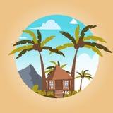 Imagen del dibujo del vector la isla localizada casa de planta baja ilustración del vector