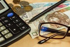 Imagen del dinero y de una calculadora Imágenes de archivo libres de regalías