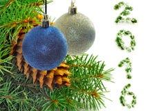 Imagen del diverso primer de las decoraciones de la Navidad Fotos de archivo libres de regalías