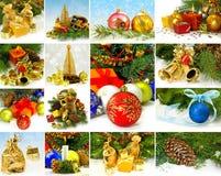 Imagen del diverso primer de las decoraciones de la Navidad Fotografía de archivo libre de regalías
