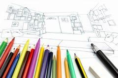 Imagen del escritorio de oficina de arquitectos Foto de archivo