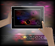 Imagen del espacio en un teléfono elegante Imagen de archivo