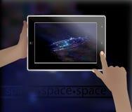 Imagen del espacio en un teléfono elegante Foto de archivo libre de regalías