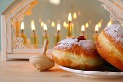 Imagen del foco selectivo del día de fiesta judío Jánuca Imagen de archivo