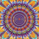 Imagen del fractal de las plumas del sol y del pavo real stock de ilustración