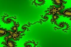 Imagen del fractal. Ornamento del oro en un fondo verde Imagen de archivo libre de regalías