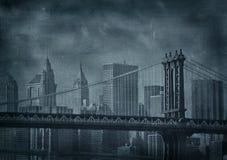 Imagen del grunge de la vendimia de New York City stock de ilustración
