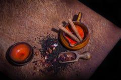 Imagen del Grunge de los accesorios del té Imagen de archivo