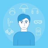 Imagen del hombre e iconos de la vista, de la audiencia, del olor y de la cabeza del equipo protector personal libre illustration