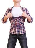 Imagen del hombre joven que rasga su camisa de aislado fotos de archivo libres de regalías