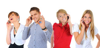 Imagen del hombre y de la mujer con los teléfonos celulares Fotografía de archivo