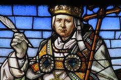 Imagen del icono en el vitral en la iglesia cristiana fotos de archivo